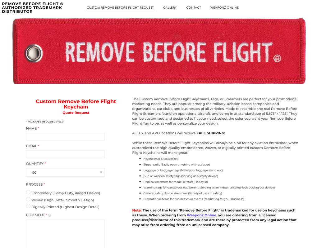 Custom Remove Before Flight Keychains